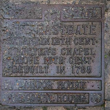 Plaque under St Peter's Church and Eastgate, 2018. | Image courtesy of Sioux Gijzen