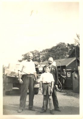Dad, me, Charlie Walker the Ever Ready battery representative, with Fred Clark of Burman & Brewster on the right. B&B Commer lorry behind us. Photograph dated May 1952. | Image courtesy of RT Bolton. Warwickshire County Record Office reference B.HAS.Bol(P)