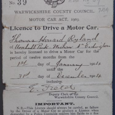 One of the First Driving Licences in Warwickshire