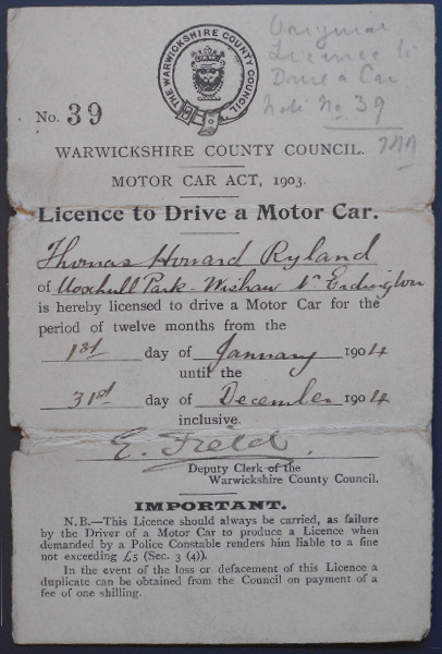 The original driving licence issued to Mr TH Ryland in 1904. The license is entitled 'license to drive a motor car' before giving the user's details. | Warwickshire County Record Office reference CR724
