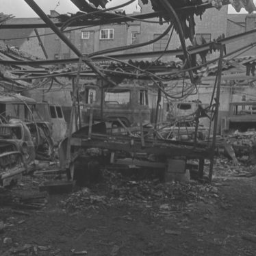 The remains of Regent Garage after the fire, 10 July 1976 | Image courtesy of the Leamington Courier. Warwickshire County Record Office, PH(N)600/1976/18478