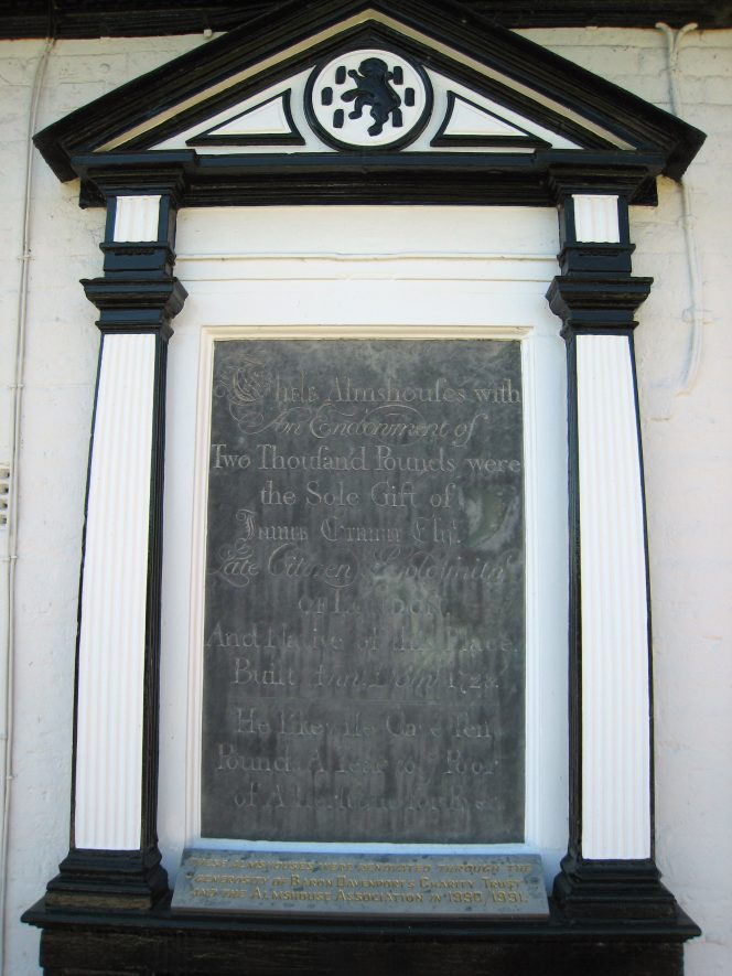 Plaque with inscription, Gramer's Almshouses, 6-8 Mancetter Road, Mancetter, 2018. | Image courtesy of Anne Langley