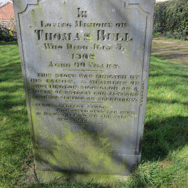Gravestone of Thomas Bull at Church of St Matthew, Shuttington, 29/3/2016.   Image courtesy of Angella Rodgers