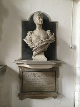 Bust of Daisy, Countess of Warwick, in Little Easton Church, summer 2018. | Image courtesy of Adam Busiakiewicz