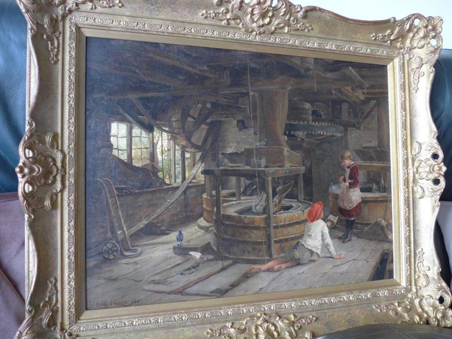Ryton on Dunsmore. Sidney Currie painting of Old Flour Mill, 1883. It shows the milling machinery and two children feeding pigeons. | Image courtesy of Joyce Tedcastle