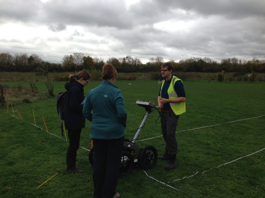 Geophys at work. | Image courtesy of Archaeology Warwickshire