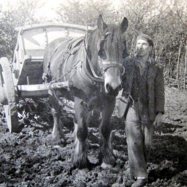 At work on Mr Weaver's farm near Bidford on Avon, 1940s. | Image courtesy of Joan Broscomb