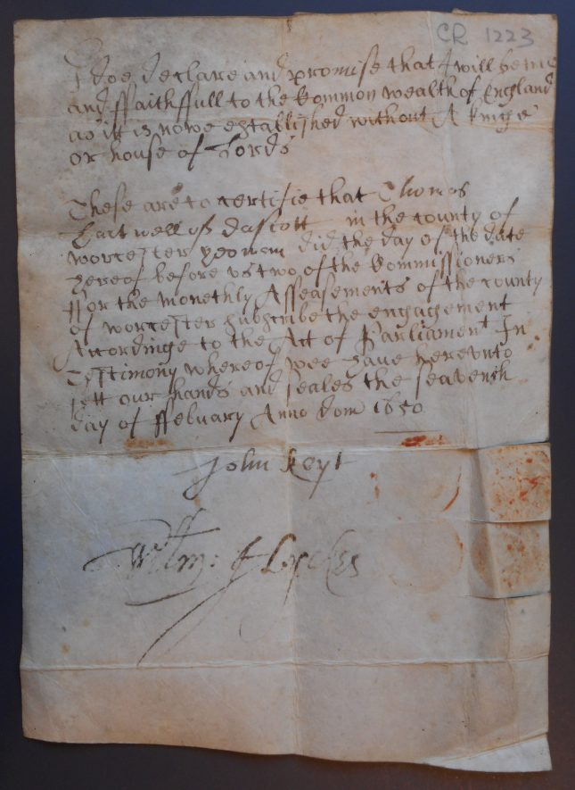 Certificate of engagement to be true to the commonwealth of England of Thomas Hartwell of Dascott. 1650-1651. | Warwickshire County Record Office reference CR1223