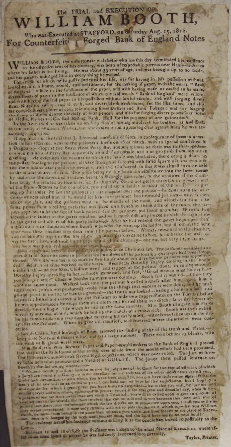 Handbill about execution of William Booth. | Warwickshire County Record Office reference CR2565/8