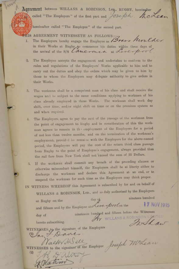 The agreement dated 17 November 1915 between Willans & Robinson and Joseph McLean for the company to employ him as a Brass Moulder. | Image courtesy of Alstom. Warwickshire County Record Office reference CR4031/3/3