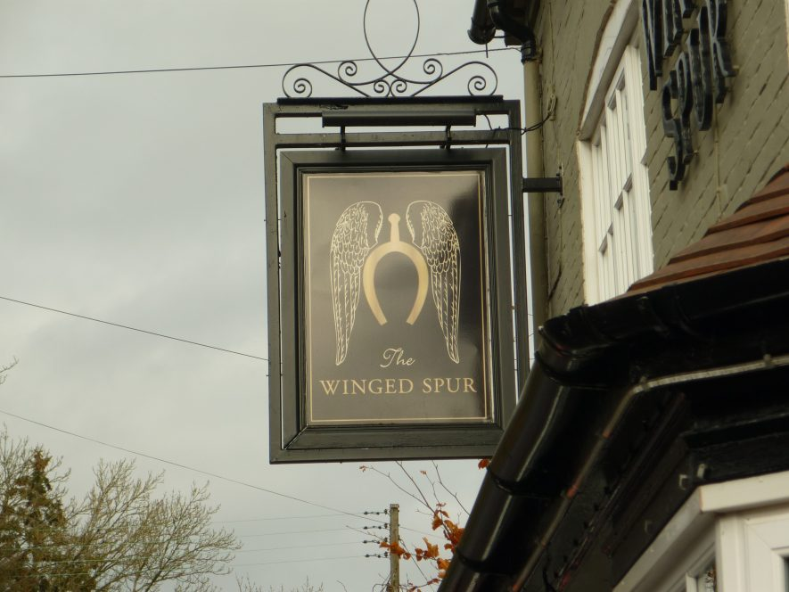 The Winged Spur pub sign, 2018. | Image courtesy of William Arnold