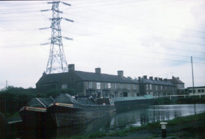 Working boats moored outside The Greyhound public house, Hawkesbury Junction. 1970. | Image courtesy of Colin Grundy