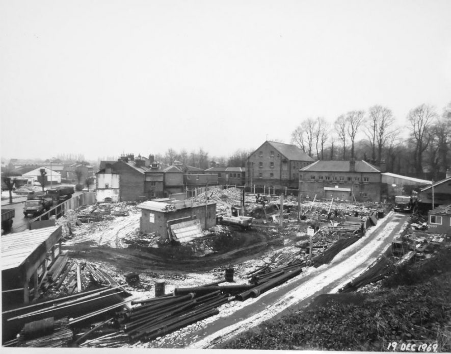 Photograph of Brooks House, Warwick, during early construction, showing snow on the building site, 19 December 1969 | John Wright Photography, Leamington Spa. Potterton, Boiler Manufacturers collection, Warwickshire County Record Office reference CR4765/119/2