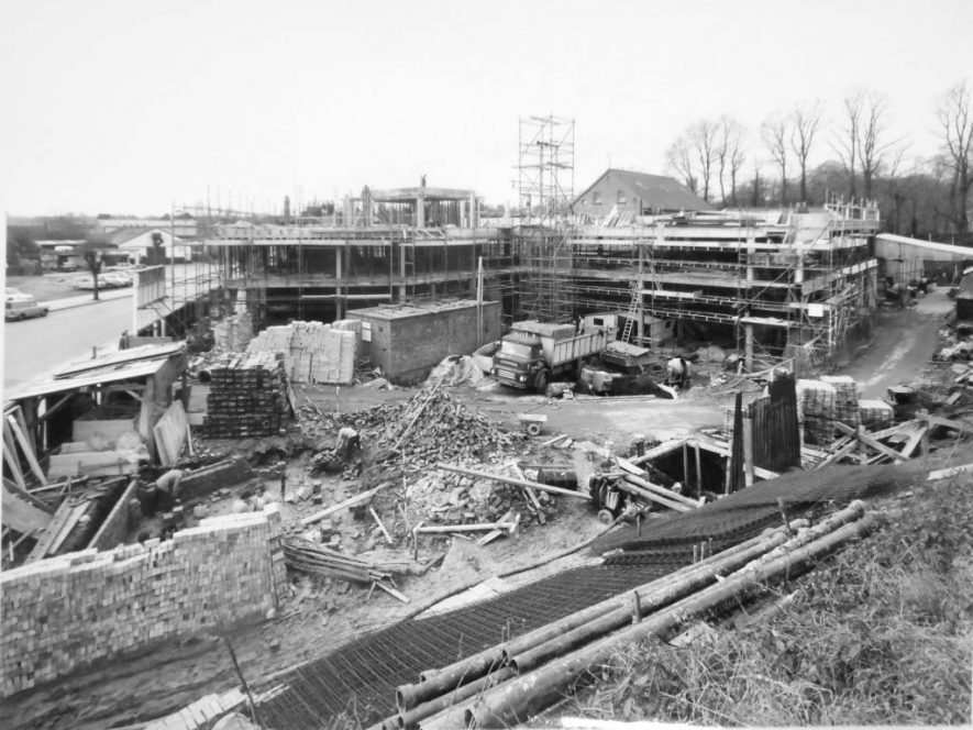Photograph of Brooks House, Warwick, during construction, c.1970 | John Wright Photography, Leamington Spa. Potterton, Boiler Manufacturers collection, Warwickshire County Record Office reference CR4765/119/3