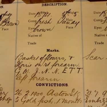 Harry Taylor's particulars. | Warwickshire County Record Office reference CR2212
