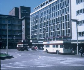 Buses outside Owen Owen, a traditional Coventry store, 1969. | Photo © David Hillas (cc-by-sa/2.0). Originally uploaded to geograph