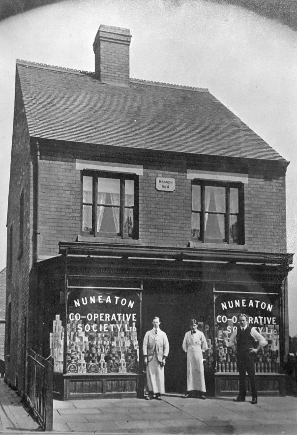 Co-op branch located on Haunchwood Road. This was demolished, rebuilt, and is now a general hardware store. | Image courtesy of Heart Of England Co-operative Society, supplied by Nuneaton Memories