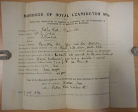 Particulars of the alterations to the Public Hall, Leamington, are shown here. | Warwickshire County Record Office reference CR2487/Z3132
