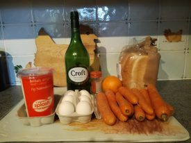 Carrots... ready for the off! Along with some other ingredients to stir in, not to drink. | Image courtesy of Carolyn Ewing