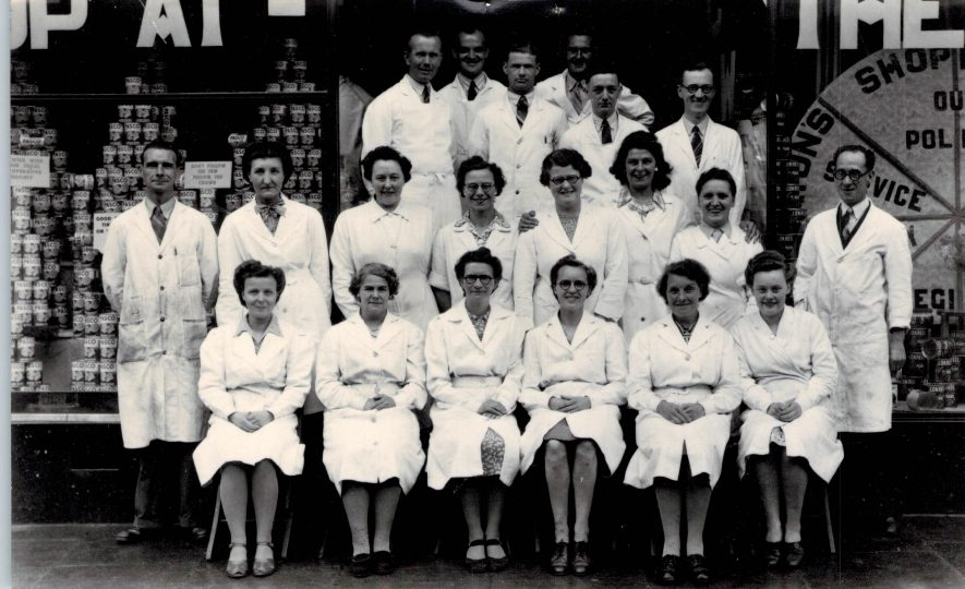 Staff of Central Grocery, Abbey Street, Nuneaton - can you see anyone you recognise? | Image courtesy of Heart Of England Co-operative Society, supplied by Nuneaton Memories