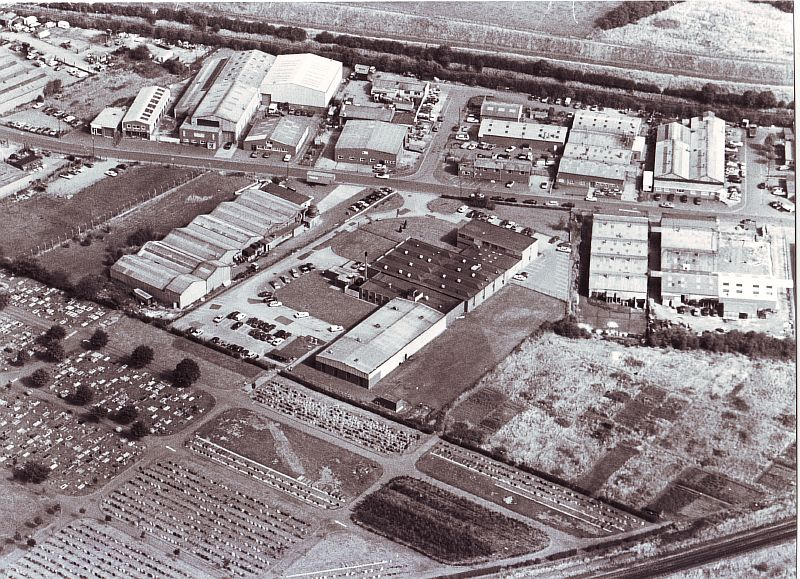 Nuneaton. Aerial view. Black and white photograph aerial view of industrial-looking area bordered by grassland. | Image courtesy of Nuneaton and Bedworth Borough Council, supplied by Nuneaton Memories.