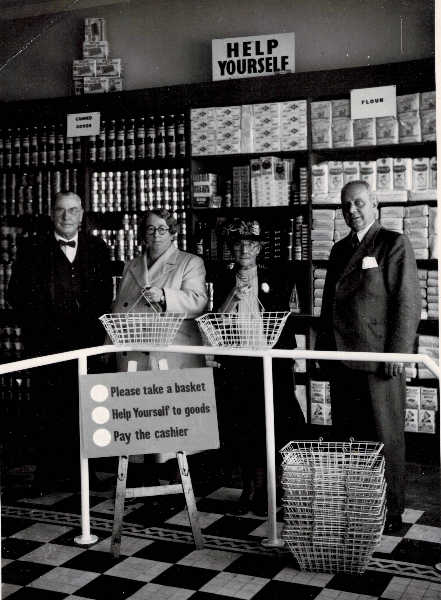 Self Service introduced at the Co-op. We can only assume this is Central Grocery, Abbey Street, Nuneaton and possibly late 1940s / early 1950s | Image courtesy of Heart Of England Co-operative Society, supplied by Nuneaton Memories