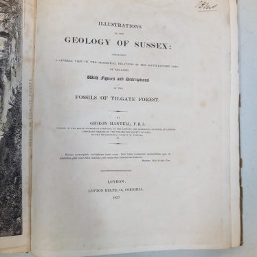 Title page of Brodie's copy of Mantell's Illustrations of the Geology of Sussex. | Image courtesy of Warwickshire Museum