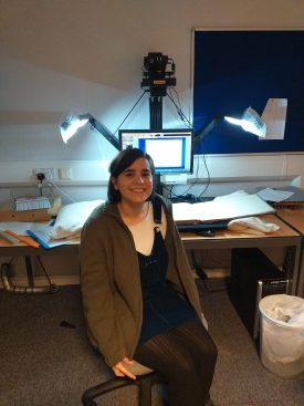 Andrea in her natural home, the Warwickshire County Record Office Digi Suite. | Image courtesy of Suzannah Brookes