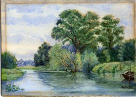Watercolour of a river scene looking from Castle Bridge towards Leamington. | Image courtesy of Leamington Spa Art Gallery and Museum