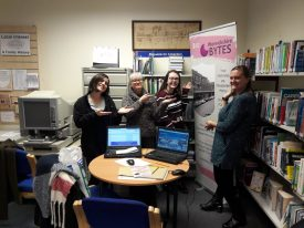 Andrea with colleagues at Atherstone Library for the Warwickshire Bytes project. | Image courtesy of Benjamin Earl