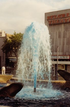The fountain outside the Belgrade Theatre turns Sky Blue, May 15th 1987. | Image courtesy of Caroline Sampson