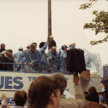 The Coventry City open top bus during the victory parade, May 17th 1987. | Image courtesy of Caroline Sampson