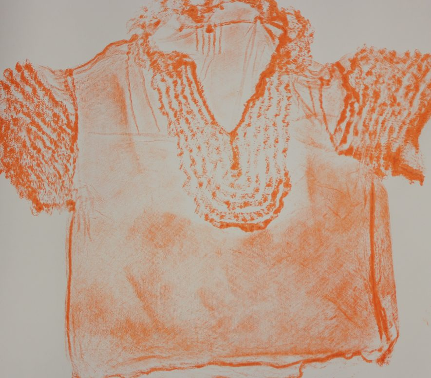 The Crossing Borders group tried several art techniques to explore ideas about identity and memories including making prints from old clothes. The imprint created from the creases and folds of the fabric is a memory of the person who wore them. | Image courtesy of Heritage & Culture Warwickshire and Matthew Cox