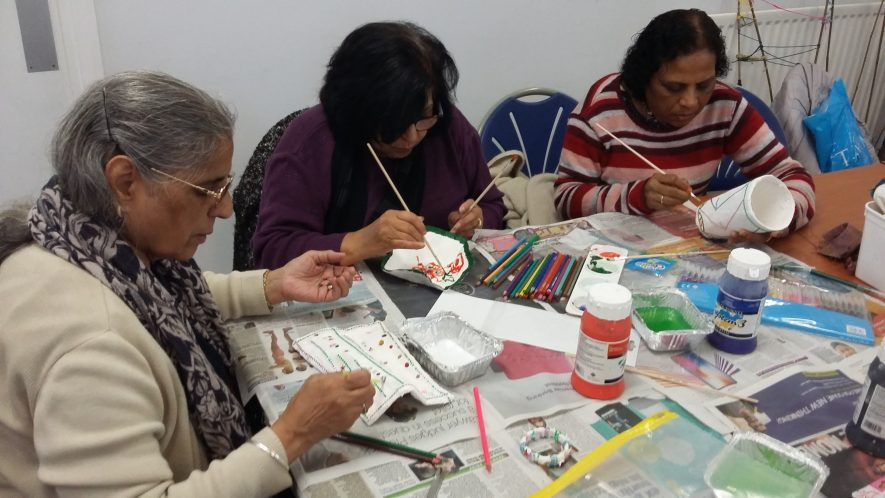 The Crossing Borders group tried several art techniques to explore ideas about identity and migration including recreating their own personal objects from home in modroc, paint and applique. | Image courtesy of Heritage & Culture Warwickshire and Helen Barff
