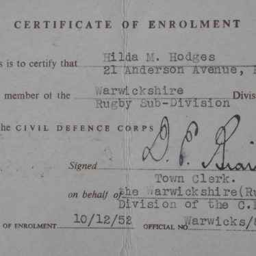 Civil Defence Corps Certificate of Enrolment | Image courtesy of Fern List