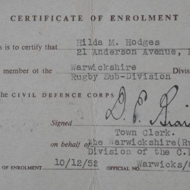 Civil Defence Corps Certificate of Enrolment | Image courtesy of Fern List