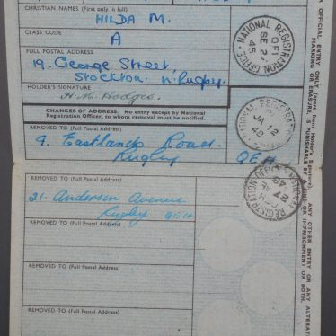 The inside of the National Identity Card contains personal information about Hilda, along with her three address changes from Stockton to Rugby, and to another address in Rugby. These moves are all officiated by a stamp with the date of change registered on them. The fine print informs holders what they must do when changing addresses. | Image Courtesy of Fern Hodges