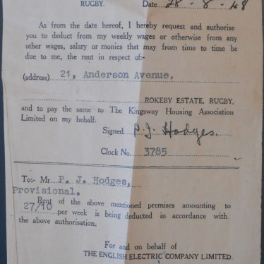Warwickshire in 100 Objects: English Electric Company Rent Stub