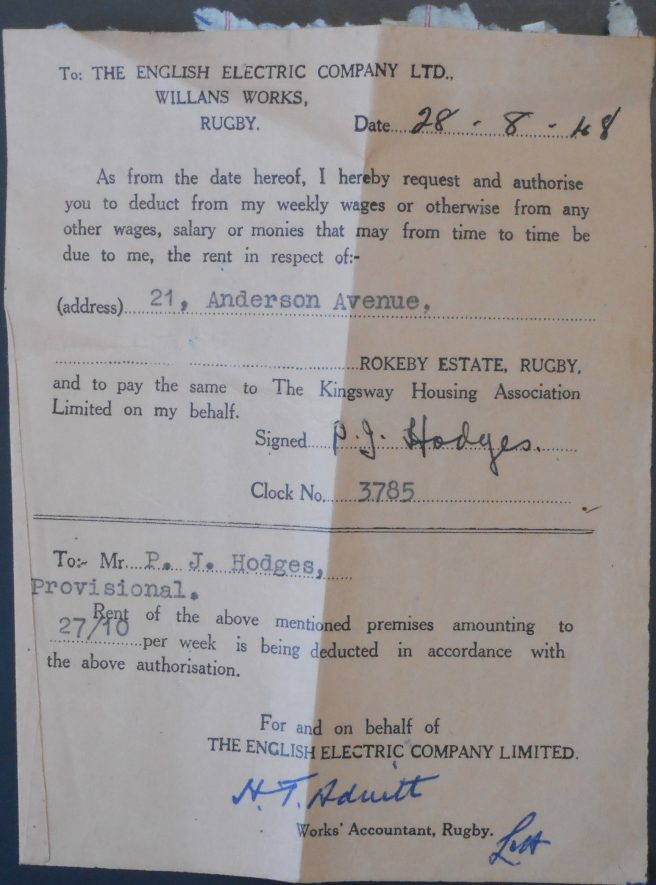 A small slip of paper instructing the English Electric Company to deduct 27/10 from Mr P.J. Hodges weekly wages. It is dated the 28th of August 1948 for the property of 21 Anderson Avenue. | Image Courtesy of Fern Hodges