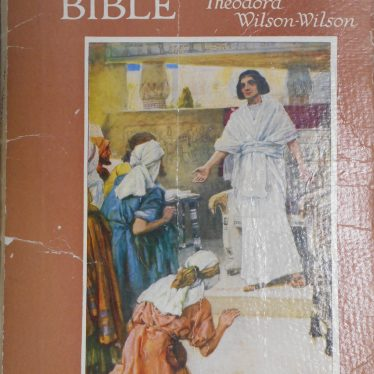 Outside cover of a book called Rulers of the Bible which has a depiction of Jesus talking to some followers. The book is by Theodora Wilson-Wilson, and is distributed by Blackies Scripture Books | Image Courtesy of Fern Hodges