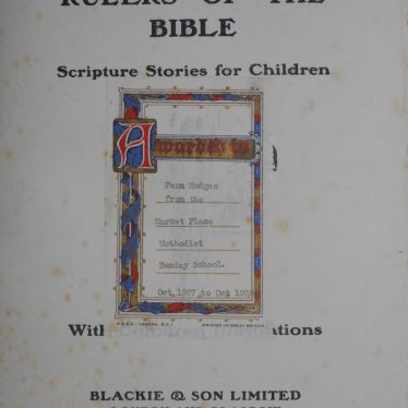 Inside cover of the Rulers of the Bible book, which are Scripture Stories for Children. It is a white page which an inscription that says it has been awarded to Fern List from the Sunday School of the Market Place Methodist Church | Image Courtesy of Fern Hodges