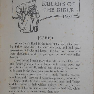 The first page of the Rulers of the Bible book which tells the story of Joseph and has an illustration of him at the top of the page | Image Courtesy of Fern Hodges