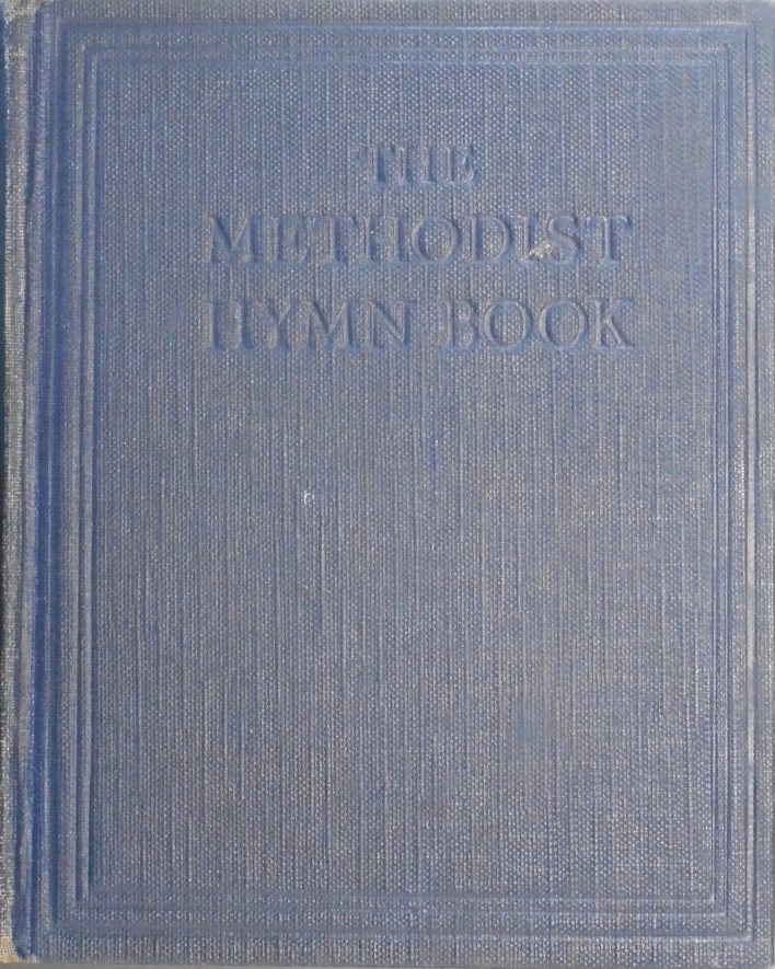 Methodist hymn book that has a blue cover and those words embossed on the front in the centre top of the cover. | Image Courtesy of Fern Hodges