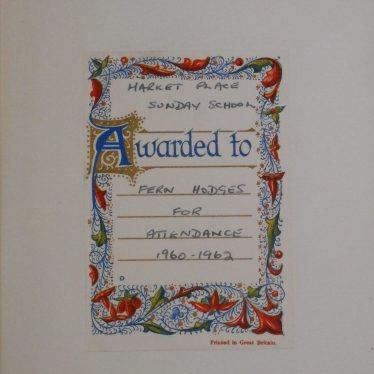 Inside cover of the book Heidi, it is stamped with an 'awarded to' frame. It celebrates Fern Hodges regular attendance of Sunday School between 1960 and 1962 | Image Courtesy of Fern Hodges