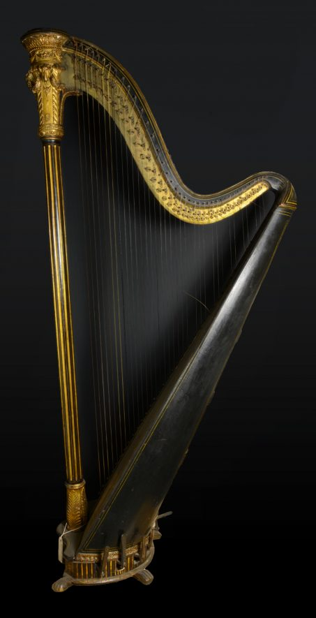 Harp. Side View. Black background. | Image courtesy of Warwickshire Museum