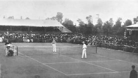 William (left?) and Ernest Renshaw, playing a match at the Wimbledon Championships 1883 | Originally uploaded to Wikipedia