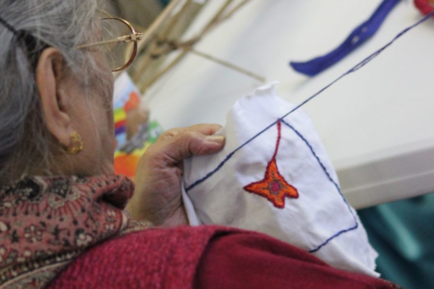 The Crossing Borders group tried several art techniques to explore ideas about identity and memories including embroidery. Handicrafts skills such as sewing, knitting and crochet were passed down from mother to daughter and often formed part of the women's dowry. | Image courtesy of Heritage & Culture Warwickshire and Matthew Cox