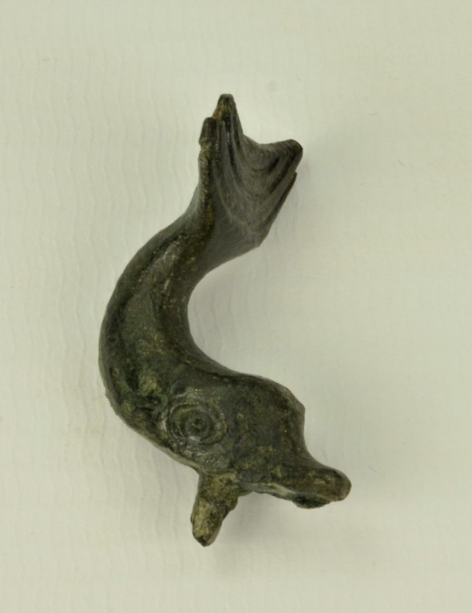 Small bronze dolphin mount, found at Mancetter | Image courtesy of Warwickshire Museum