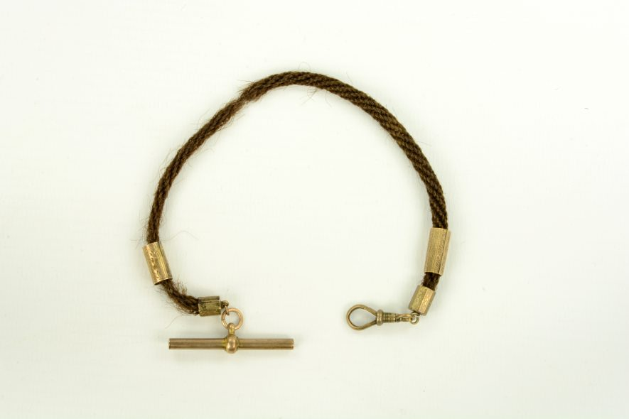 Watch chain of plaited hair. | Image courtesy of Warwickshire Museum