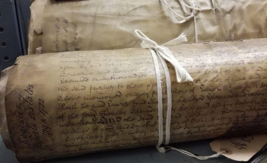 A series of enrolled deeds of papist estates. | Warwickshire County Record Office reference QS9/7